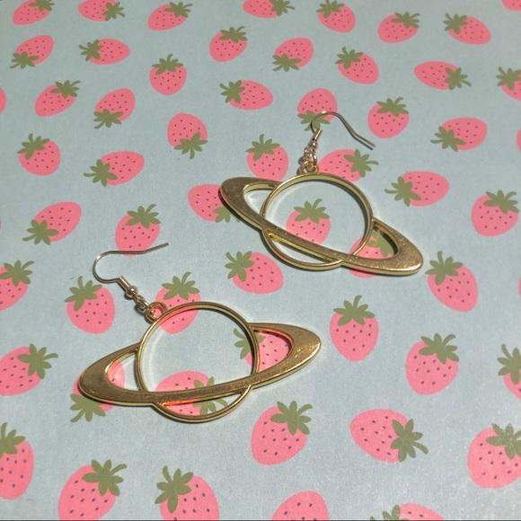 Gold Planet Saturn Earrings
